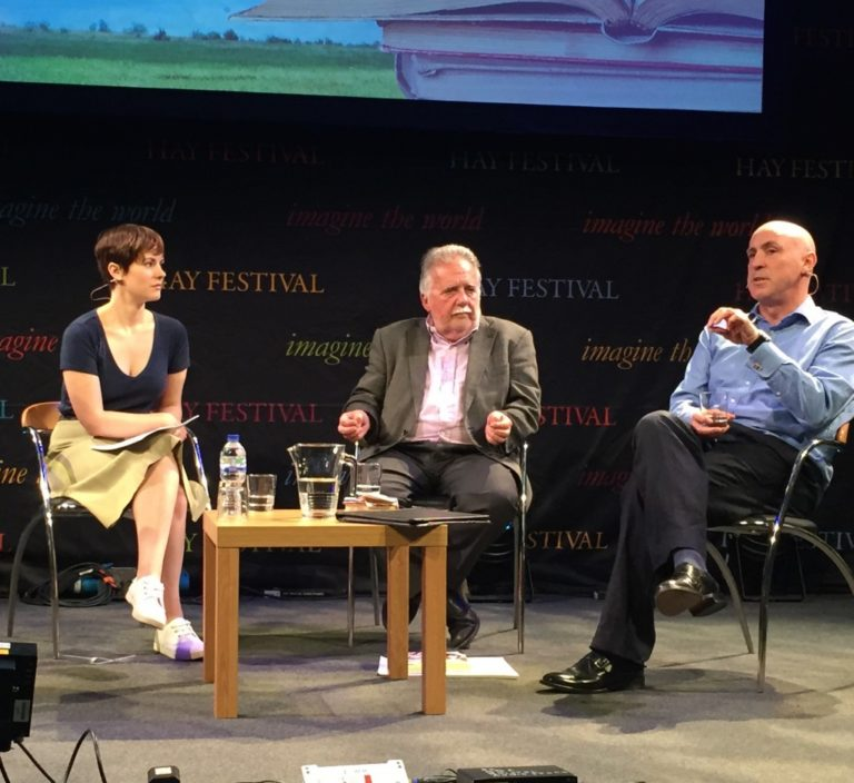 An image of Sam Delbaere, Professor Dai Smith and Kevin Jones on the BBC stage at Hay Festival of Literature and Arts 2015